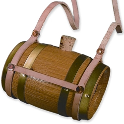 Wooden Barrel Canteen With Leather Carrying Strap