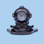 "Iron Divers Helmet Clock on Wood Base 8"" 143-IR5265"