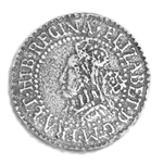 Elizabethian Sixpence Coin Button 107.0710