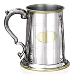 Georgian Handle with Brass Plate Straight Pewter Tankard One Pint EP046