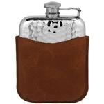 Hammered Purse With Captive Top and Pouch Pewter Flask 6 Ounces