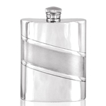 Diagonal Satin Band Pewter Flask 6 Ounces