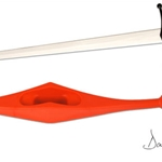 Synthetic Longsword Guard-Red PR2014