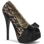 Teeze Champagne and Lace Platform Pumps 34-4339