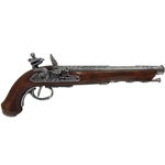 19th Century French Dueling Pistol Grey Non-Firing Replica,19th Century French Flintlock Dueling Pistol Pewter Non-Firing