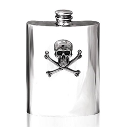 Skull and Crossbones Pewter Flask 6 Ounces