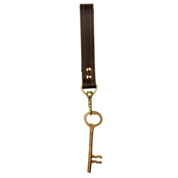 Pirate Brass Key and Leather Fob Set